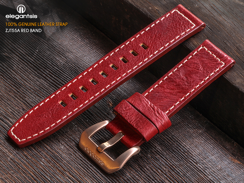 JT55A-紅色小牛皮錶帶(正面)