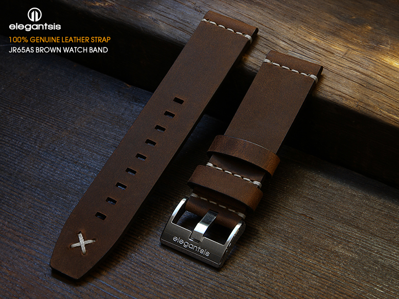 JR65AS-棕色小牛皮錶帶(正面)