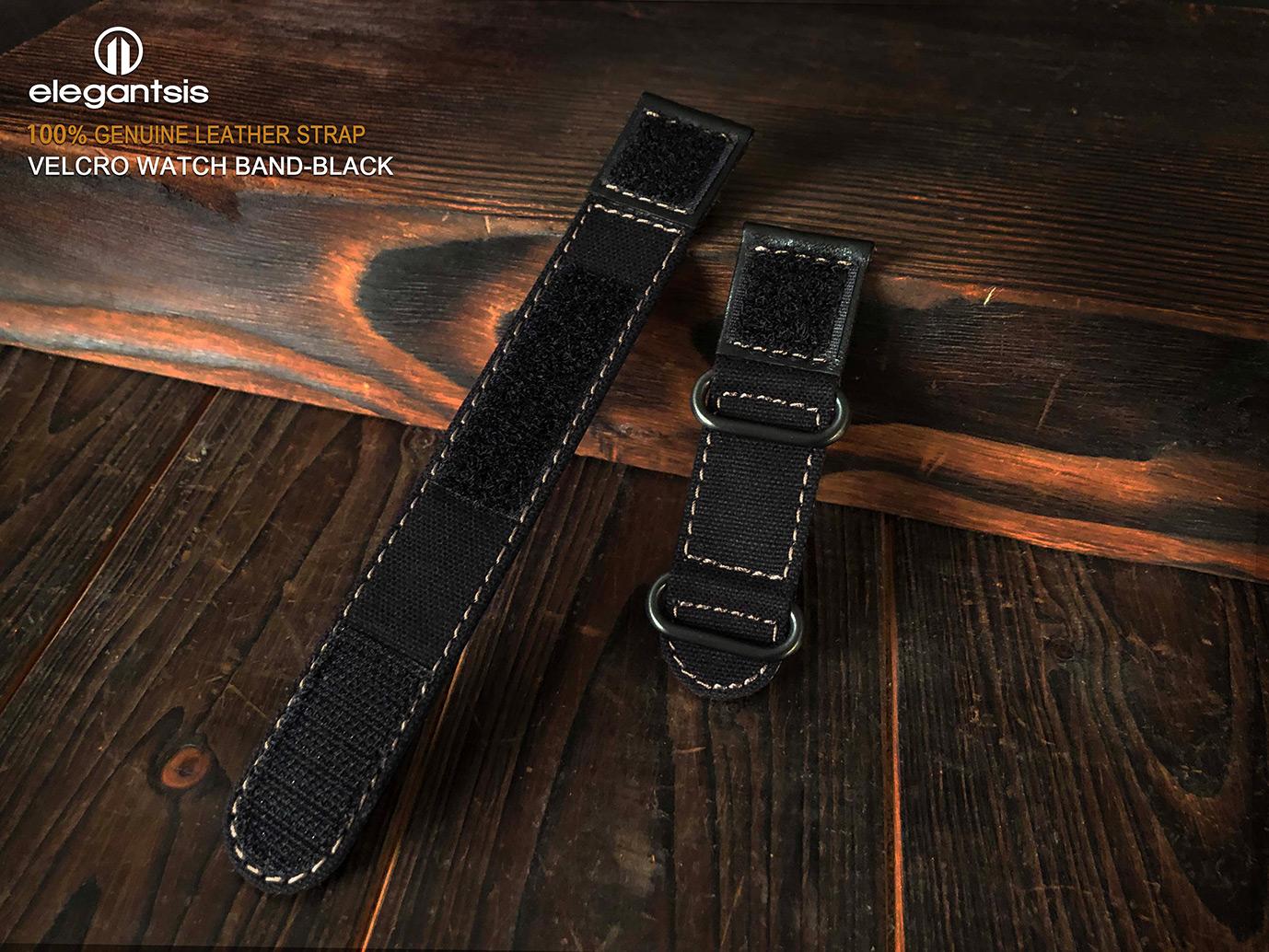 魔鬼氈帆布皮錶帶-黑色